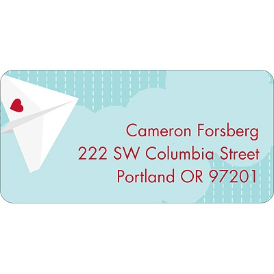 Plane Cool Valentine's Day Address Label