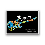 U Rock -- Blue Kid's Valentine's Day Card