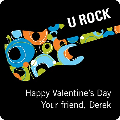 U Rock in Blue -- Valentine's Day Personalized Stickers