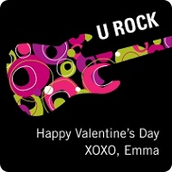U Rock Valentine's Day Pink Gift Tag