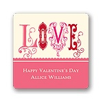Fancy Love in Pink -- Valentine's Day Personalized Stickers