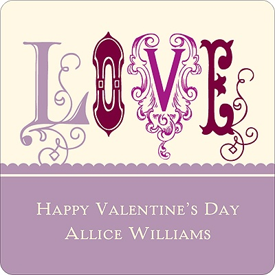 Fancy Love in Purple -- Valentine's Day Personalized Stickers