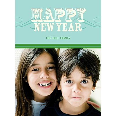Simply Happy -- Aqua Happy New Year Card