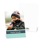 Solid Greetings -- Aqua Happy New Year Card