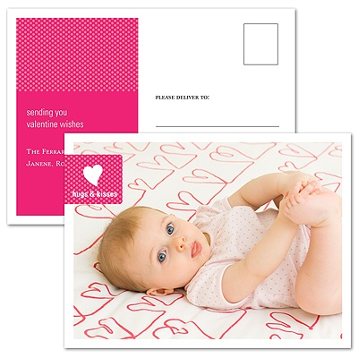 Hugs & Kisses -- Horizontal Photo Valentine's Day Postcard