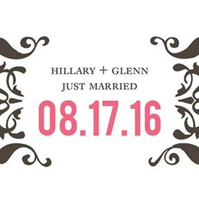 Divine Damask Stickers -- Wedding Favor Tags