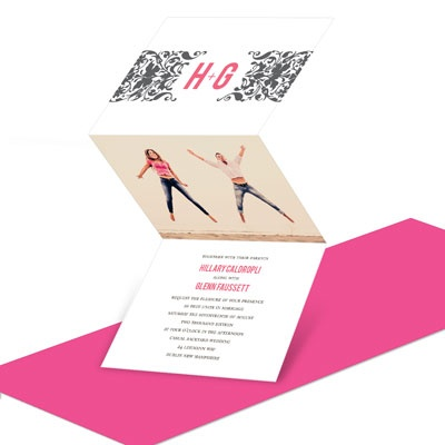 Pink Damask Folding Invite