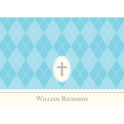 Faith -- Blue Personalized Note Card