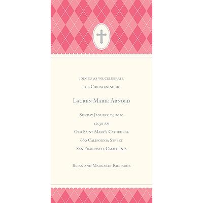 Pink Faith Baptism Invitations