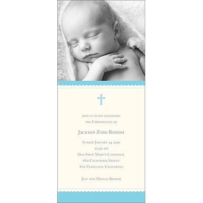 Simplicity -- Blue Baptism Invitations