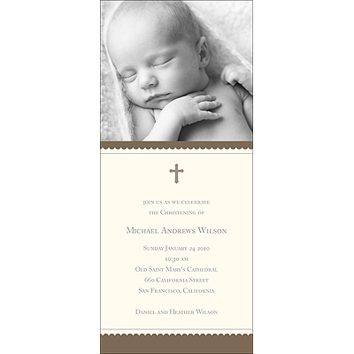 Simplicity -- Brown Baptism Invitations