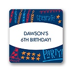 Doodles of Fun in Blue -- Kids Birthday Favor Stickers