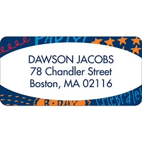 Doodles of Fun -- Blue Address Label