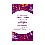 Doodles of Fun -- Purple Birthday Invitation