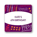 Doodles of Fun in Purple -- Kids Birthday Favor Stickers