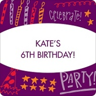 Doodles of Fun in Purple Kids Birthday Favor Stickers