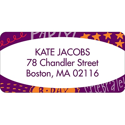 Doodles of Fun Purple Address Label