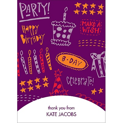 Doodles of Fun -- Purple Thank You Card