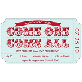 Ticket to the Show -- Birthday Invitation