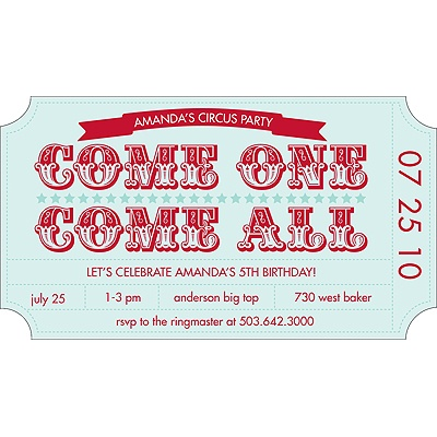 Ticket to the Show Birthday Invitation