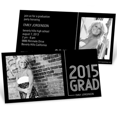 Striped Success Horizontal Single College Graduation Announcements