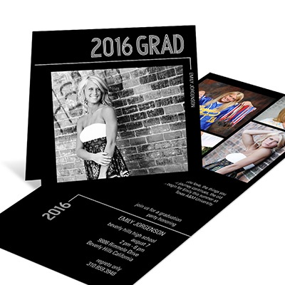 Striped Success Folded Graduation Announcements