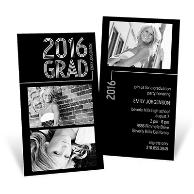 Striped Success Vertical Duo College Graduation Announcements