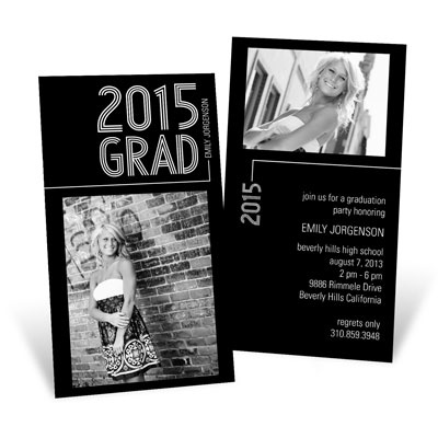 Striped Success Vertical Single Graduation Announcements