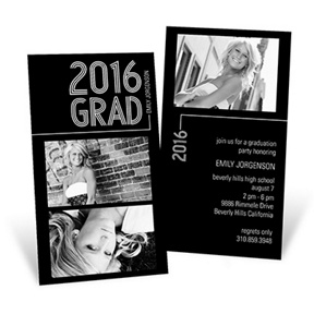 Striped Success Vertical Duo -- Graduation Announcements