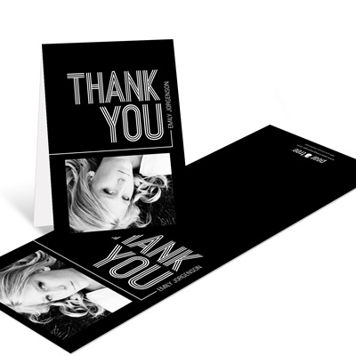 Striped Success Vertical Graduation Thank You Cards