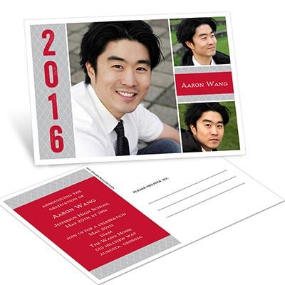 Three Photos Postcard Graduation Announcements