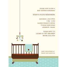 Lullaby Baby in Aqua -- Baby Shower Invitations
