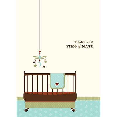 Lullaby Baby In Aqua Baby Shower Thank You Cards