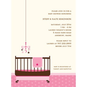 Lullaby Baby in Pink -- Baby Shower Invitations