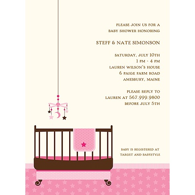 Lullaby Baby in Pink Baby Shower Invitations