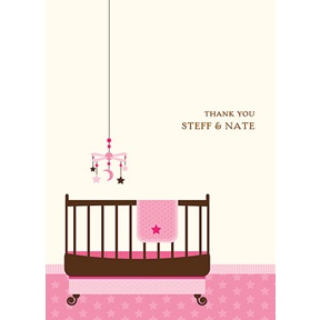 Lullaby Baby In Pink -- Baby Shower Thank You Cards