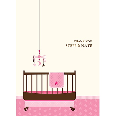 Lullaby Baby In Pink Baby Shower Thank You Cards