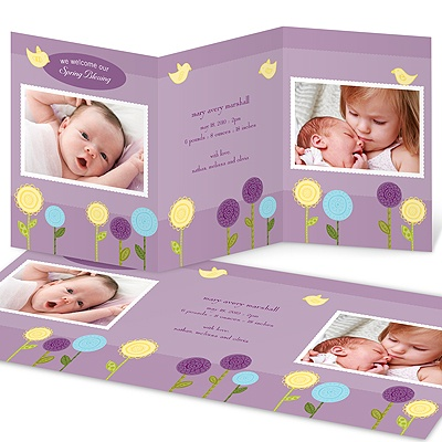 Bright Blessing -- Spring Photo Birth Announcements