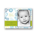 Cute as a button -- Green Photo Birth Announcement