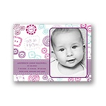 Cute as a button -- Purple Photo Birth Announcement