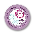 Cute as a Button -- Purple Address Label