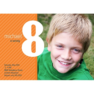 Big Numbers -- Boy Birthday Invitation