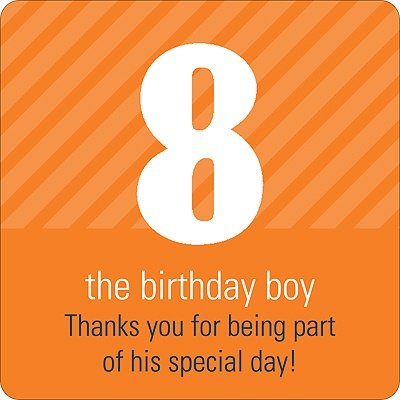 Big Numbers for Boys Kids Birthday Favor Stickers
