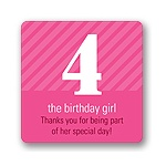 Big Numbers for Girls -- Kids Birthday Favor Stickers