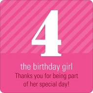 Big Numbers for Girls Kids Birthday Favor Stickers