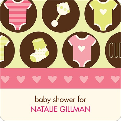 All Things Baby in Pink Stickers Baby Shower Favor Tags