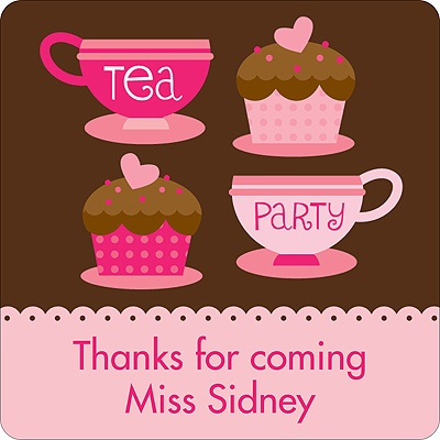 Tea Time Kids Birthday Favor Stickers