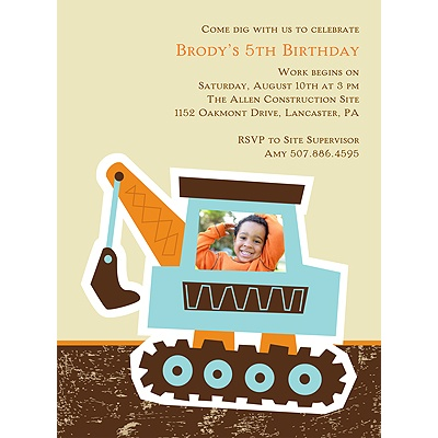 Big Dig -- Kid's Birthday Party Invitation