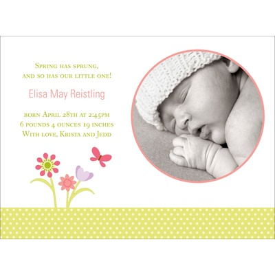 Spring Has Sprung -- Spring Photo Birth Announcements