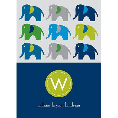 Elephant Line Up -- Blue Thank You Card